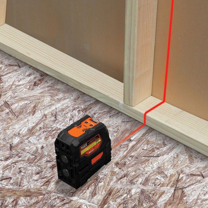 Using Klein Tools red cross-line laser for wall layout