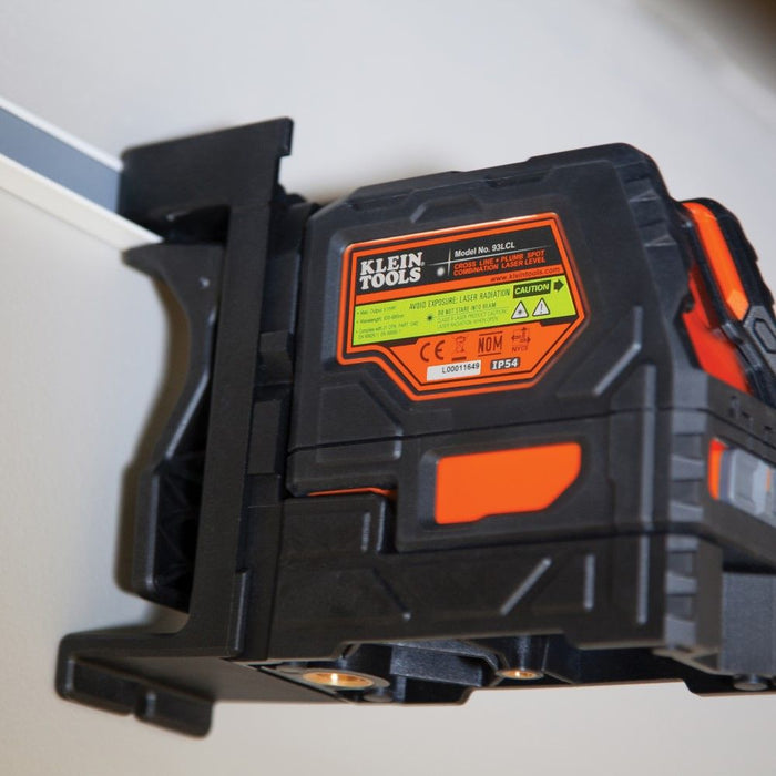 Klein Tools 93LCL laser level mounted on metal framing