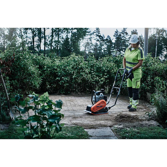 Installing outdoor patio pavers with Husqvarna LF 50 L Plate Compactor
