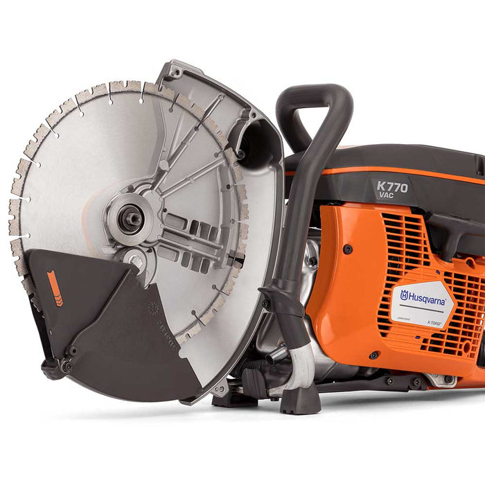 Husqvarna K 770 VAC Gas Power Cutter, cross-cut showing diamond blade