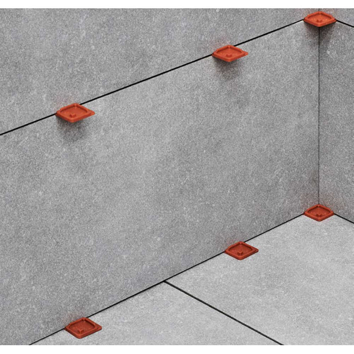 Tile wall installation with Raimondi corner spacers, SPCDR332-316
