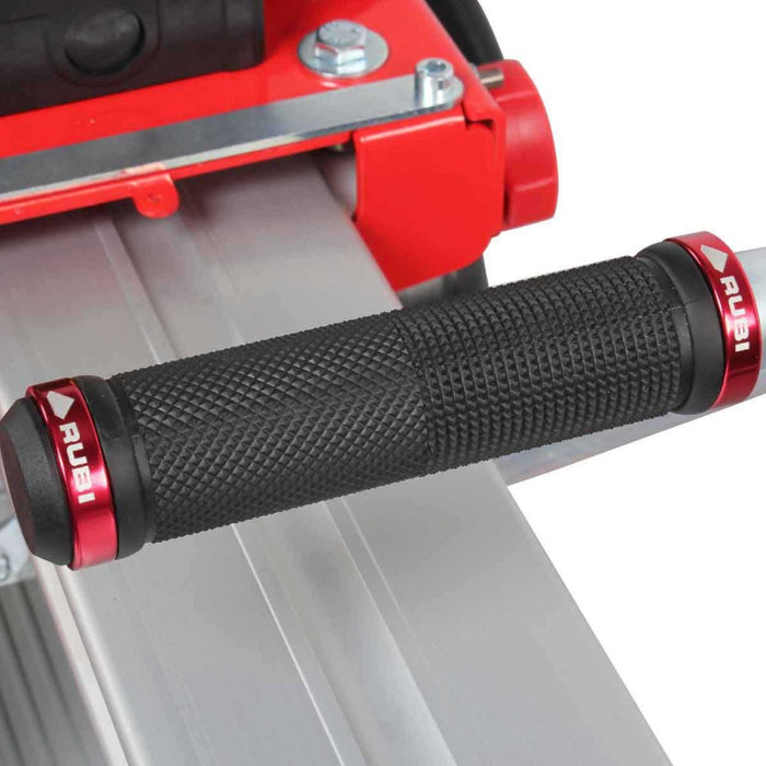 "Rubi DC 250-1200 48"" tile saw rubber grip handle making it easier to guide the blade while cutting porcelain ceramic and other tile"
