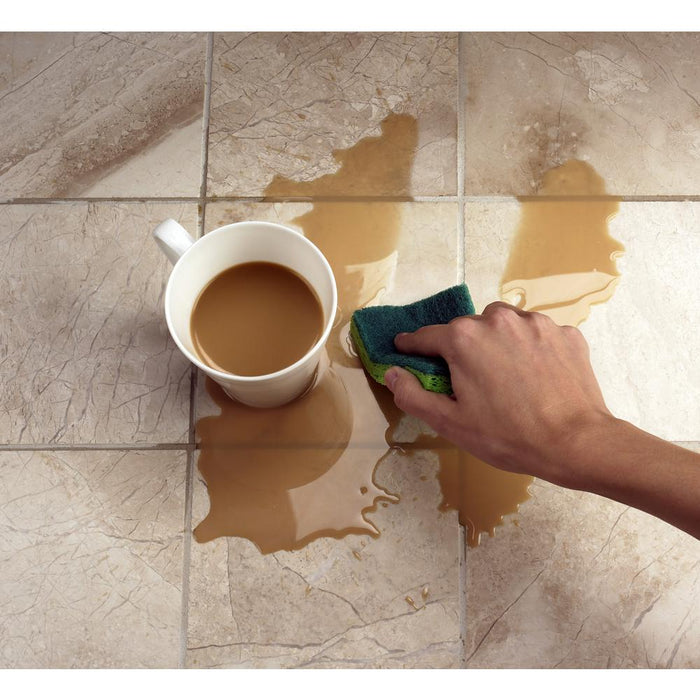 Spilled coffee easily cleaned up on sealed tile and grout