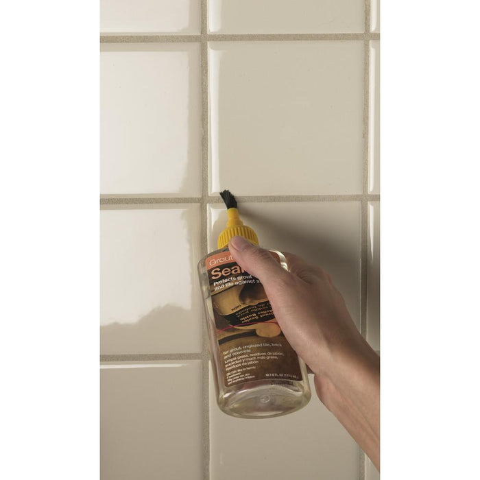 Applying TileLab grout sealer with easy squeeze bottle