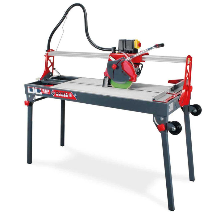 "Rubi DC 250-1200 48"" Wet Tile Saw for cutting porcelain, ceramic, glazed stoneware, and other similar materials."