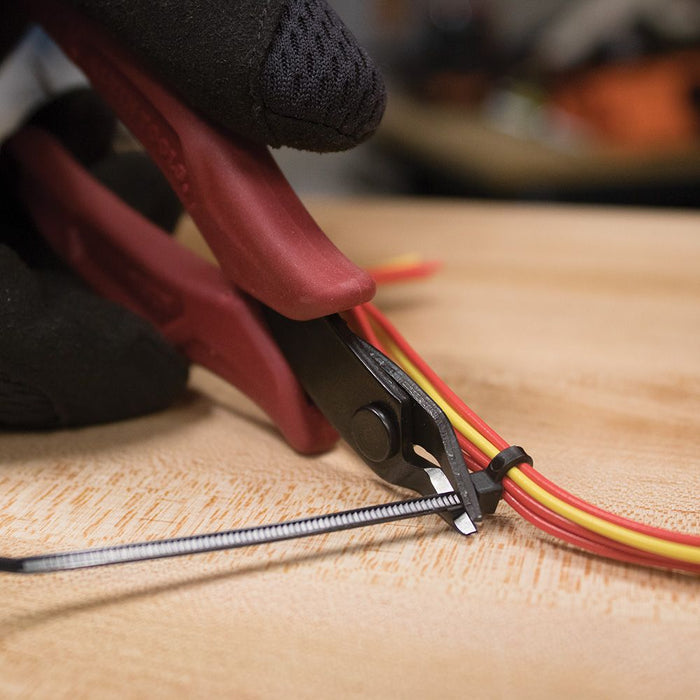 Cutting zip ties with Klein Tools Flush Cutter