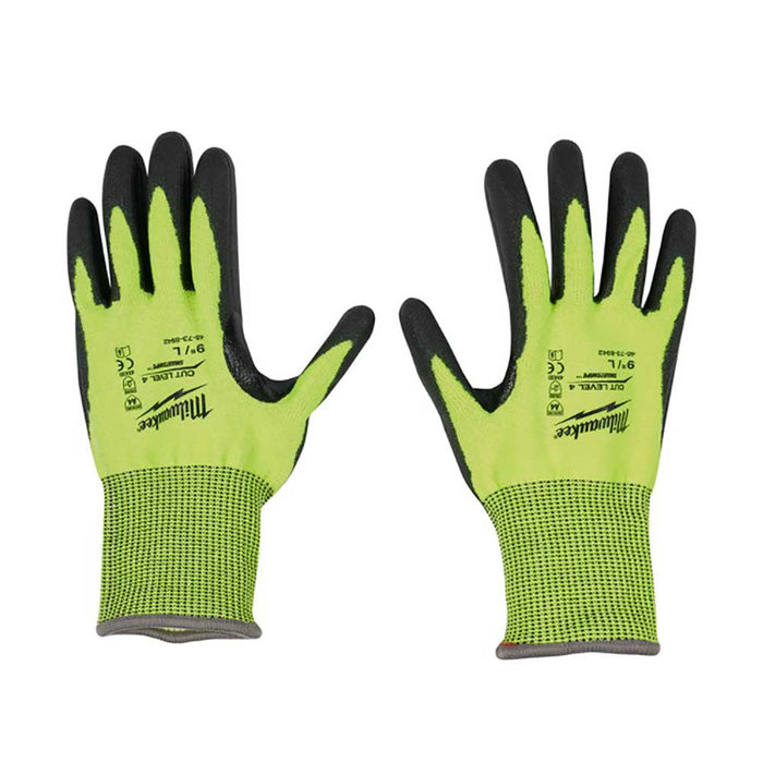 Milwaukee Cut Level 4 Polyurethane Dipped Gloves, rear view