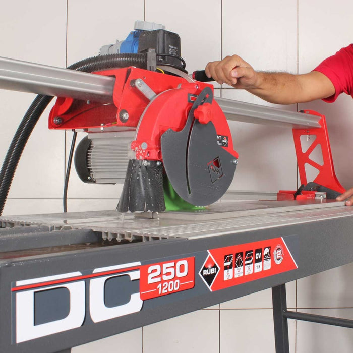 "Rubi DC 250-1200 48"" Wet Tile Saw for cutting porcelain, ceramic, glazed stoneware, and other materials."