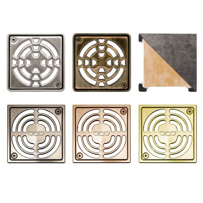 "Schluter KERDI-DRAIN 4"" x 4"" Grates come in a variety of finishes"