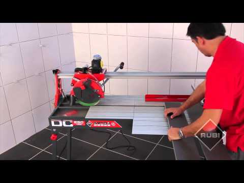 Video of the Rubi DC-1200 wet tile saw used for cutting all types of tile.