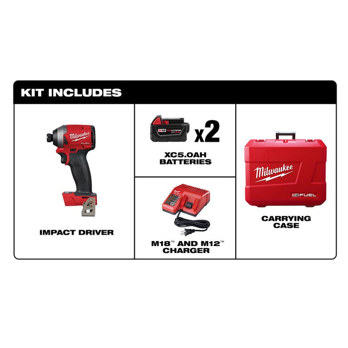 "Milwaukee M18 FUEL™ 1/4"" Hex Impact Driver Kit components"