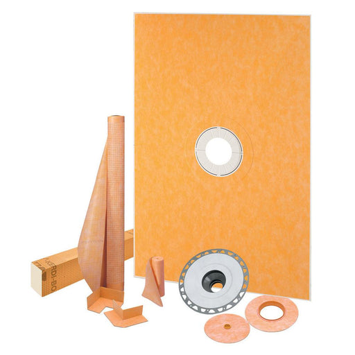 Schluter Prefabricated shower pan eliminates the need for mortar bed shower installation