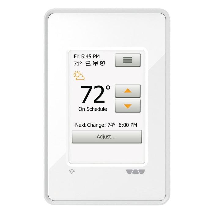 Schluter Ditra Heat wifi  touchscreen programmable thermostat. Can be easily adjusted to fit anyone's schedule.