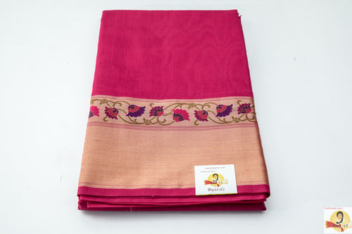 Benarasi silk cotton- Dark Pink