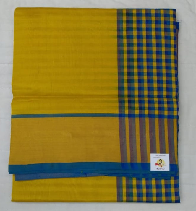 Pure silk cotton- checked pallu