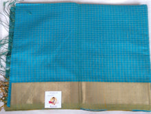 Load image into Gallery viewer, Maheshwari Silk Cotton- greenish blue checked