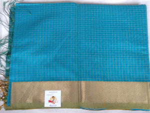 Maheshwari Silk Cotton- greenish blue checked