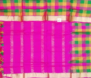 Pure silk paalum pazhamum checks. 9.5 yardz.