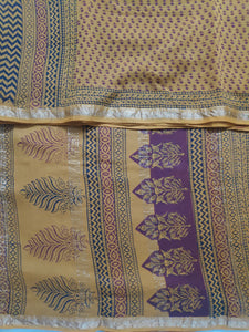 Baag printed Maheshwari Silk cotton 6yardz