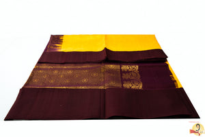Kuppadam Silk Cotton- Bright yellow with plain brown border