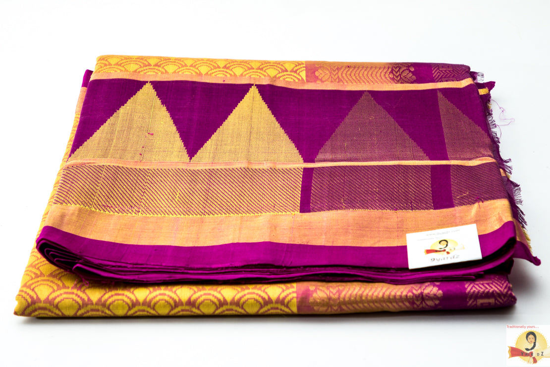 Kuppadam Silk Cotton- Pale Yellow