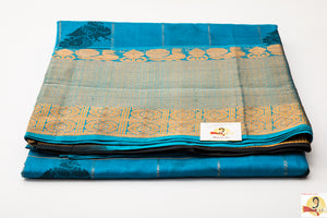 Kanchi Kuppadam Silk Cotton- Anantha blue with black pallu
