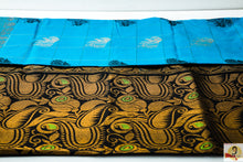 Load image into Gallery viewer, Kanchi Kuppadam Silk Cotton- Anantha blue with black pallu