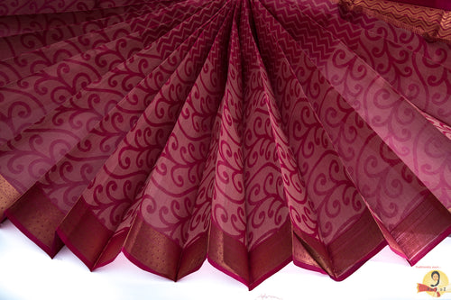 Chirala Handloom Cotton Saree- Dark Pink