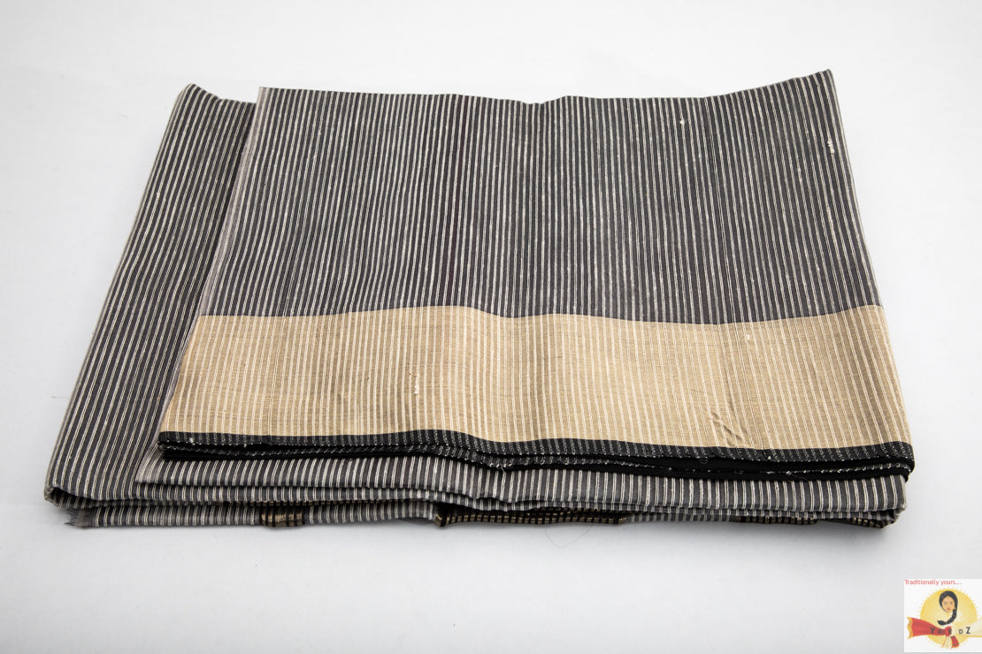Maheshwari Silk Cotton- Grey and Black Partly