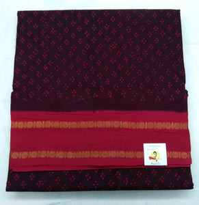 Sungudi contrast- Maroon by red