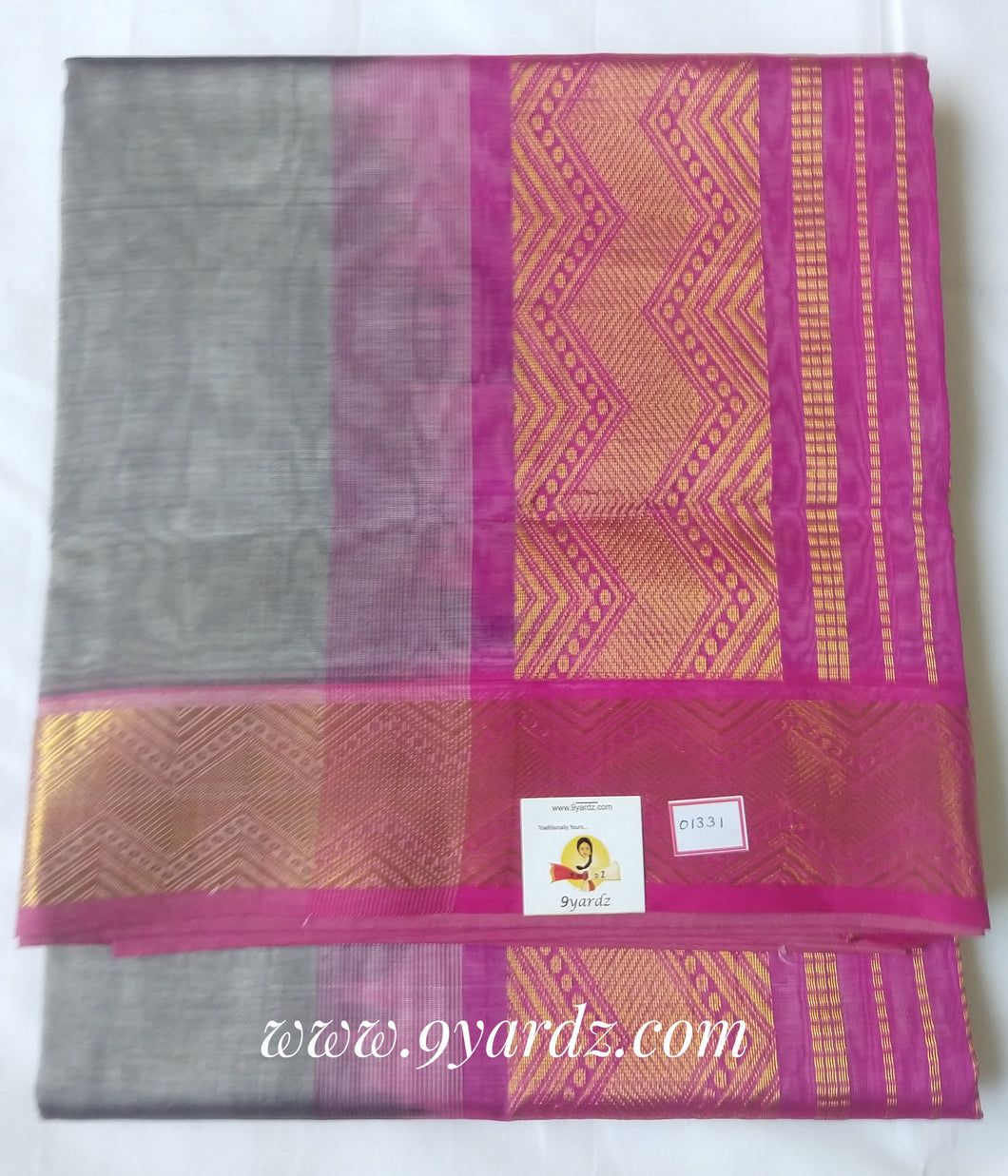 Pure Silk cotton - grey by pink