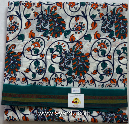 White based kalamkari - Sungudi 9 yards