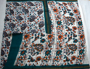 White based kalamkari - 10.5 yards