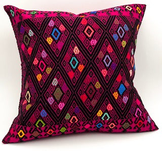 Hand-Loomed Pink Geometric Pillow