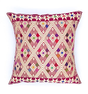 Hand-Loomed Sand Geometric Pillow