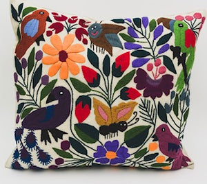 Hand-Loomed and Hand Embroidered Tropical Sand Pillow