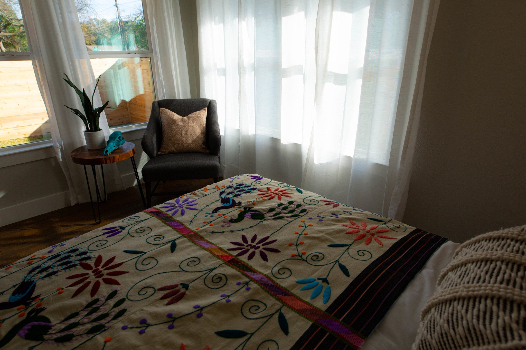 Hand-Loomed and Hand-Embroidered Throw