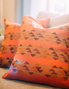 Hand-Loomed and Hand Embroidered Orange Geometric Pillow