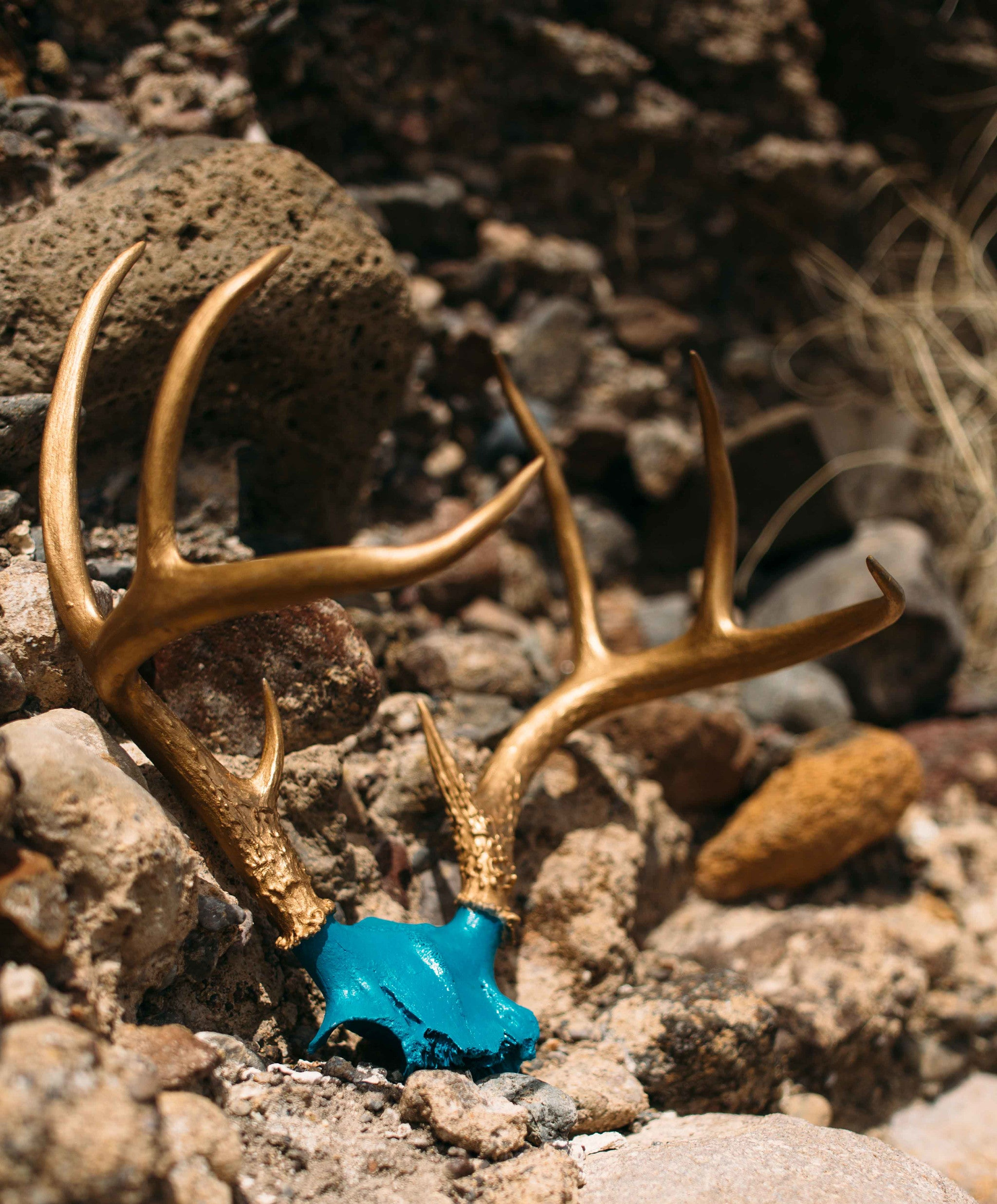 SOLD Vintage Hand-Painted Teal and Gold Deer Antlers