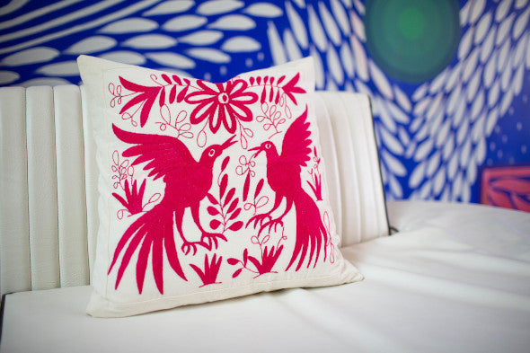 Hand-Embroidered Pink Otomi Pillow
