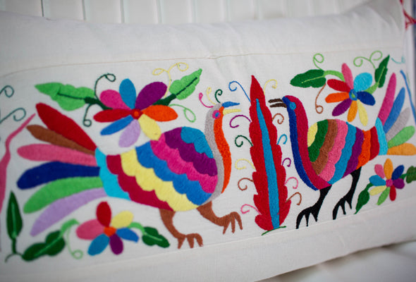 Hand-Made Otomi Pillow with Pink Tassels