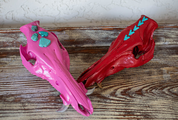 Large Pink with Silver Teeth Cruelty Free Hog Skull
