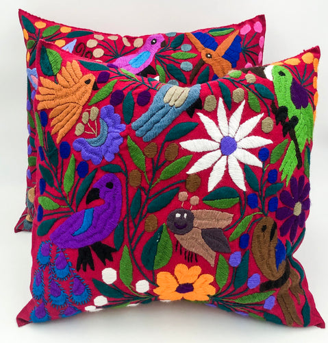 SOLD Hand-Loomed and Hand Embroidered Tropical Pink Pillow