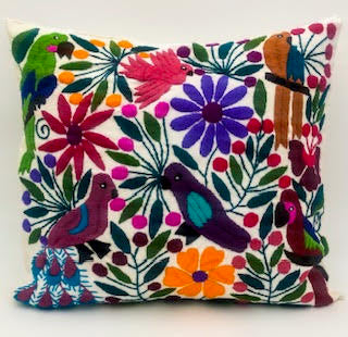 SOLD Hand-Loomed and Hand Embroidered Tropical White Pillow