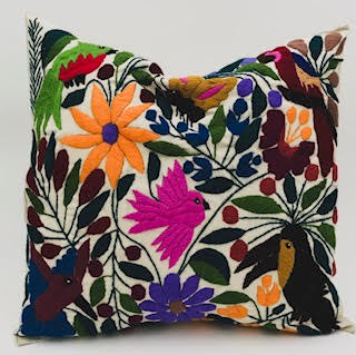 SOLD Hand-Loomed and Hand Embroidered Tropical Sand Pillow