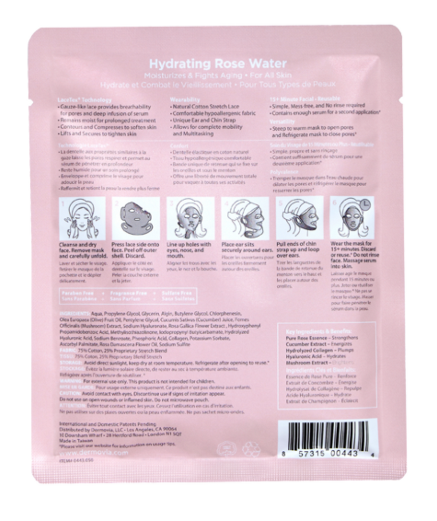 Dermovia Lace Your Face Facial Masks - Hydrating Rose