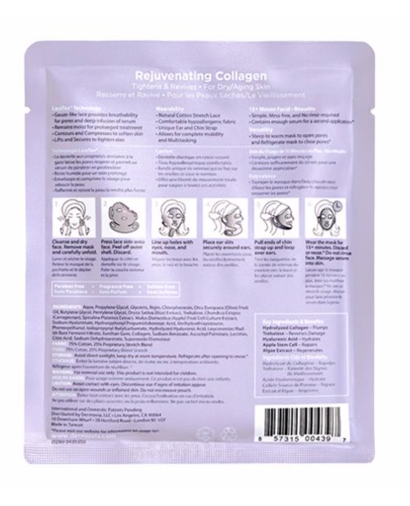 Dermovia Lace Your Face Facial Masks - Rejuvenating Collagen