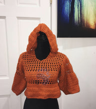 Load image into Gallery viewer, Mesh Hooded 'Caged' Crop Top - Pandi Jai Krochet