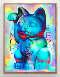 Holographic Maneki-Neko (BLUE)
