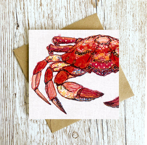 The On Guard Crab Embroidery Art Card